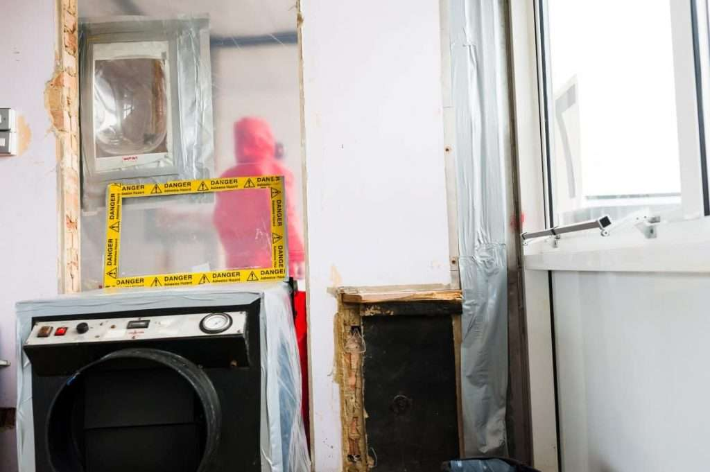 Mock up of safe asbestos removal