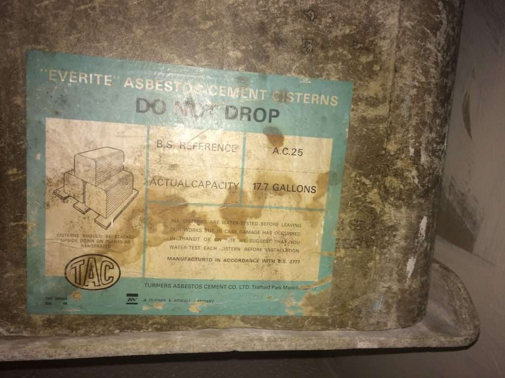 Asbestos cement cistern