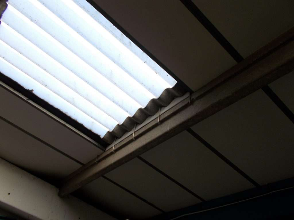 Asbestos cement roof and infill to skylight
