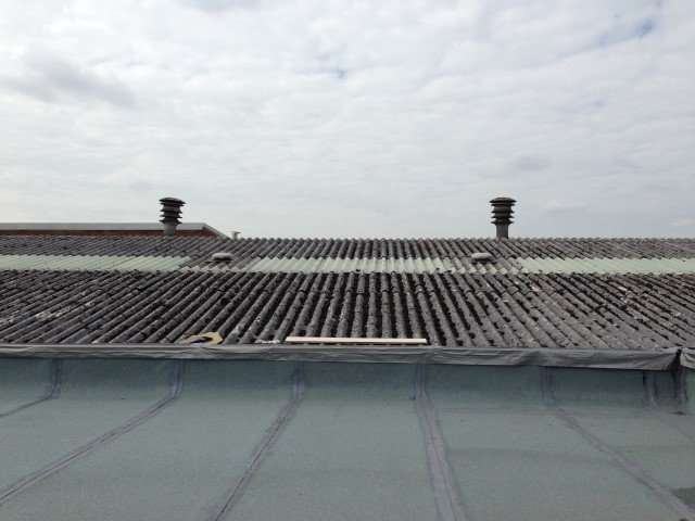 Asbestos cement roof to warehouse