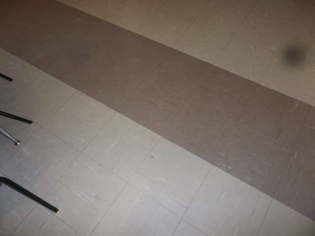Asbestos floor tiles in school