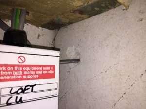 Asbestos insulating board cupboard lining with amosite brown asbestos fibres seen