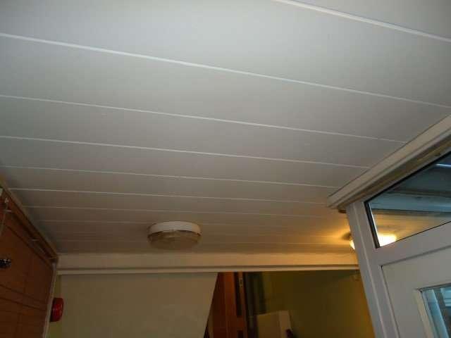 Asbestos insulating board slatted ceiling