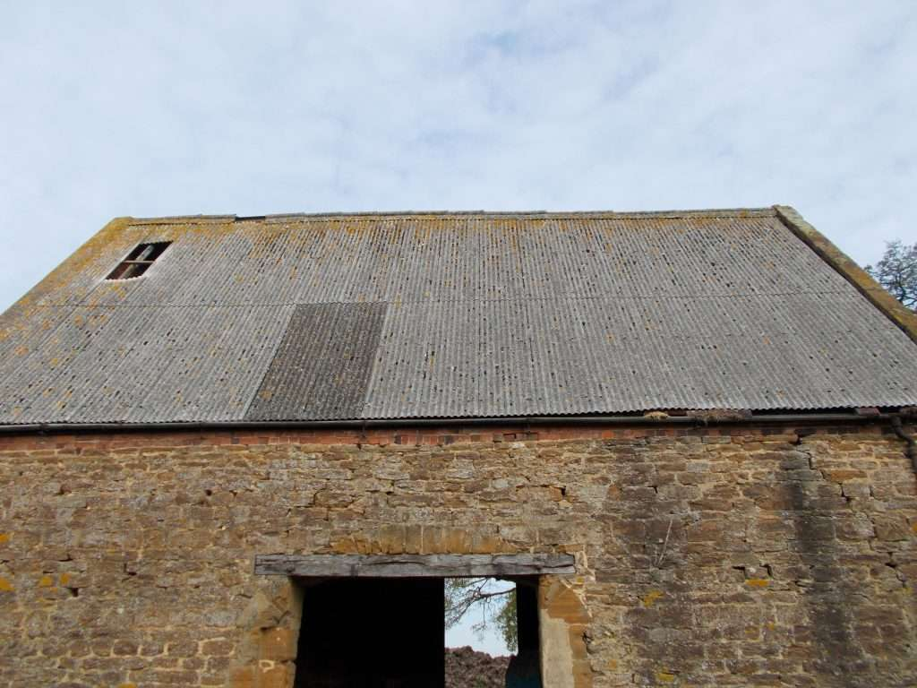 Asbestos roof to large barn