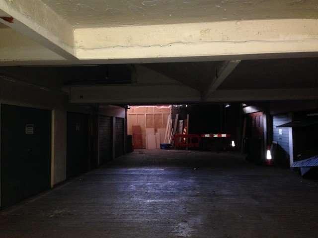 Asbestos sprayed coating to ceiling of underground car park