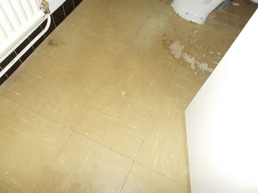 Asbestos vinyl floor tiles to WC