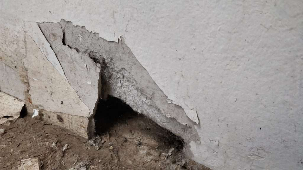 Damaged asbestos insulating board wall