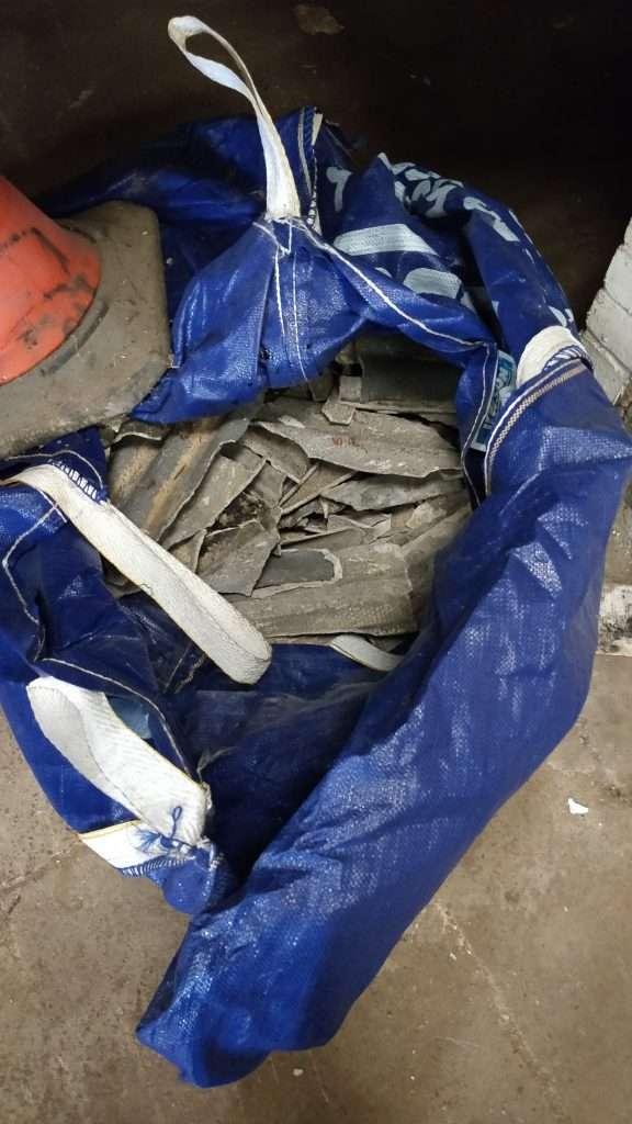 Dumped damaged asbestos cement
