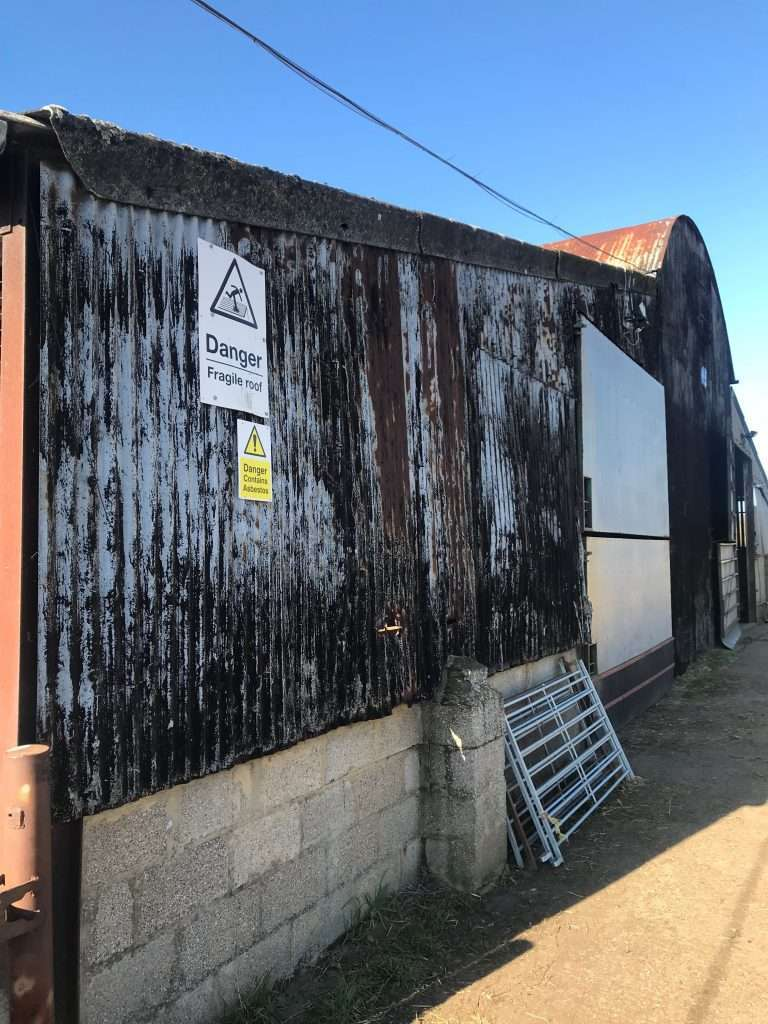 Galbestos sheeting galvenised asbestos to farm building