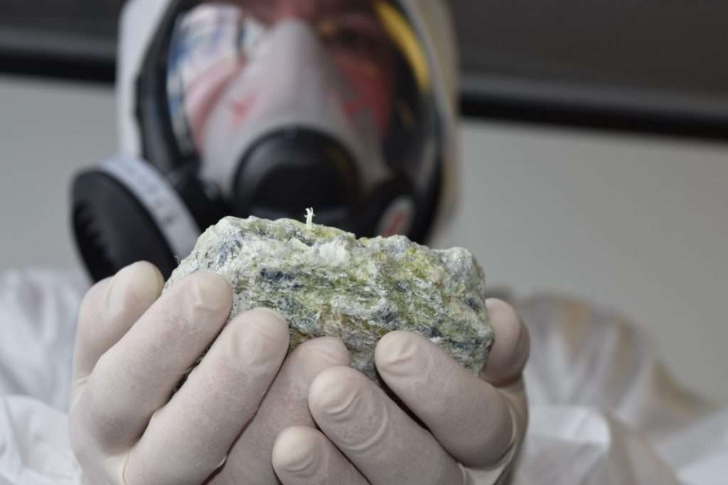 Raw asbestos chrysotile mineral rock