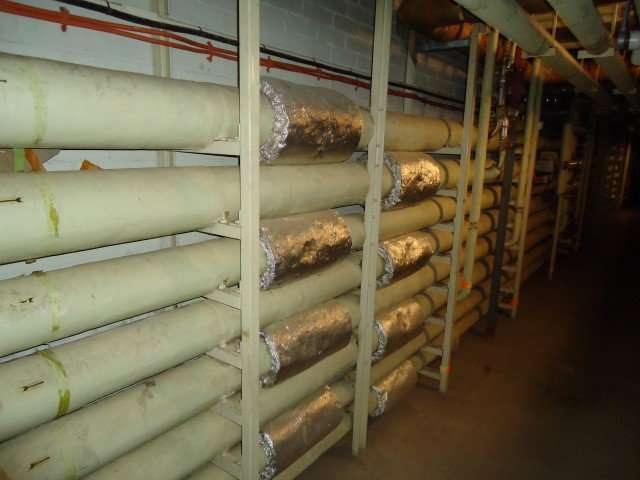 Several woven asbestos flange covers