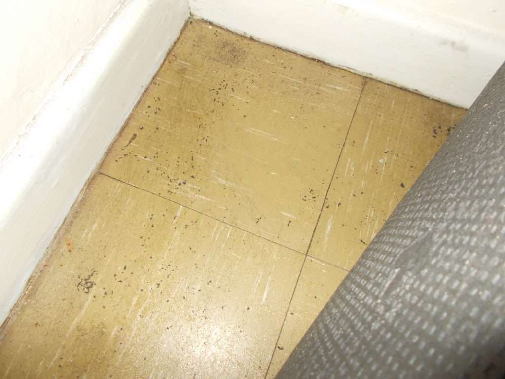 Vinyl asbestos floor tiles below carpet in office