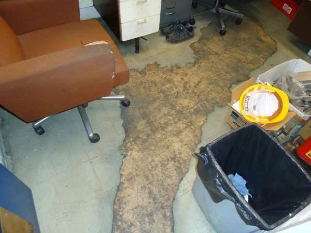 Worn through asbestos vinyl flooring in workshop office