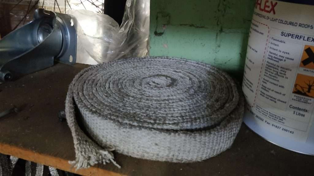 Woven asbestos rope gasket on stores shelf